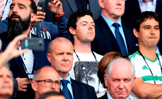 Rory McIlroy at the Parc Des Princes last night as he cheered on Northern Ireland