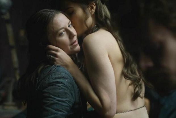 Yara gets up close with a female character during episode seven of Game of Thrones. Photo: HBO