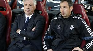 MADRID, SPAIN - APRIL 14: Head coach of Real Madrid Carlo Ancelotti and assistant-coach of Real Madrid Paul Clement look on during the UEFA Champions League Quarter Final First Leg match between Atletico Madrid and Real Madrid at Estadio Vicente Calderon stadium on April 14, 2015 in Madrid, Spain. (Photo by Jean Catuffe/Getty Images)