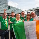 "Lorraine Doyle, Liz Heffernan, Denis O'Sullivan, Stephen O""Sullivan, Mark O'Sullivan and Eamon Scott after arriving Lille after their delay from Dublin Airport. Photo: Mark Condren"