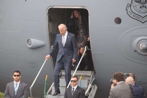 US VP Joe Biden disembarking