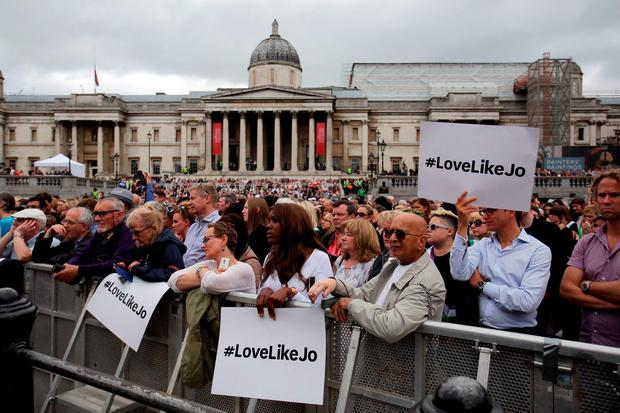 The crowd listens as Brendan Cox, widower of Jo Cox addresses the rally in Trafalgar Square, central London to celebrate what would have been the 42nd birthday of the tragic MP
