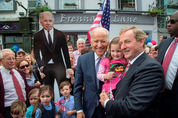 US Vice President Joe Biden pictured Taoiseach Enda Kenny and little Amy Fox (3) at Ballina yesterday. Pic Colin O'Riordan
