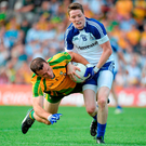 With Neil McGee suspended, Donegal must find another player to get to grips with getting to grips with Conor McManus. Picture credit: Brian Lawless / SPORTSFILE