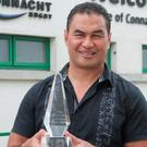 Connacht coach Pat Lam with the Philips Manager of the Month award for May. Photo:-Mike Shaughnessy