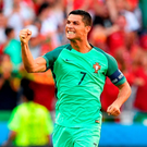 Cristiano Ronaldo celebrates after scoring for Portugal against Hungary. Photo: Francisco Leong/AFP/Getty Images