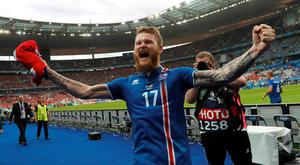 Iceland's Aron Gunnarsson celebrates after the match. Photo: Darren Staples/Reuters