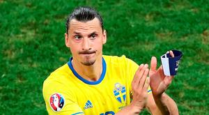 Sweden's Zlatan Ibrahimovic reacts as he leaves the field. Photo: Claude Paris/AP Photo