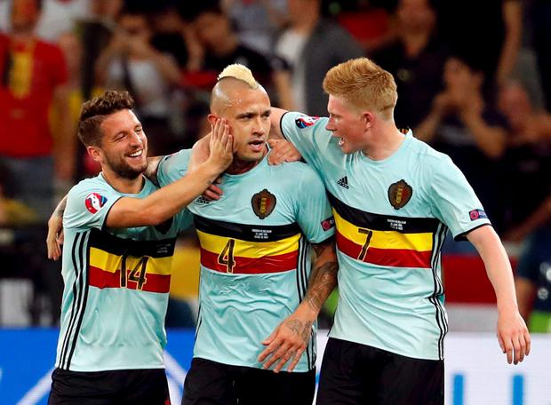 Belgium's Radja Nainggolan celebrates with team mates after scoring a goal. Photo: Yves Herman/Reuters