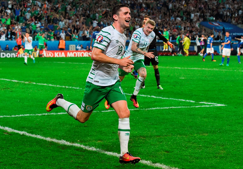 Robbie Brady wheels away after scoring Ireland's late winner over Italy in Lille. Photo: David Maher / Sportsfile