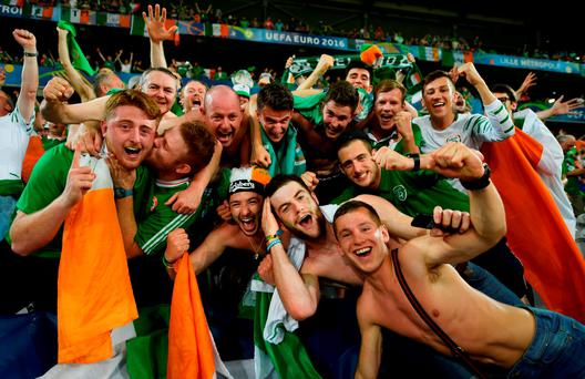 Fans go wild in Lille after Robbie Brady scores for Ireland Photo: Arthur Carron and Inpho