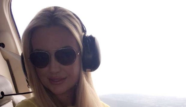 Rosanna Davison hired a helicopter for her granny's 90th birthday. Photo: Snapchat