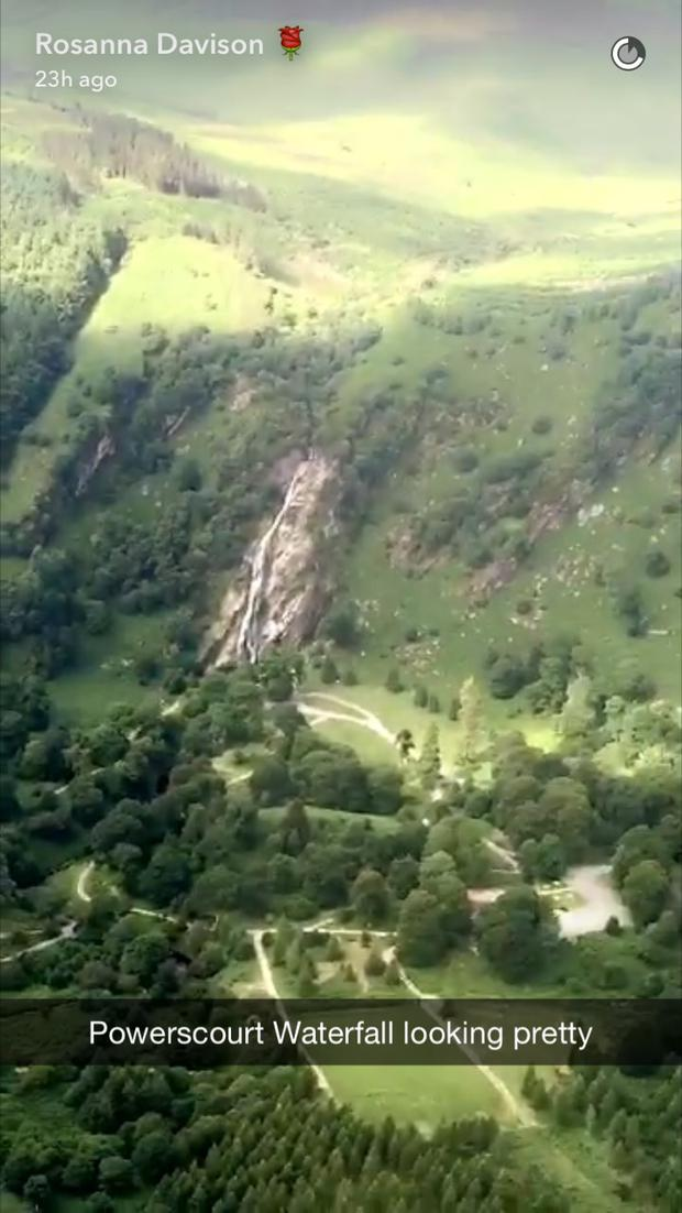 Powerscourt Waterfall from the helicopter. Photo: Snapchat