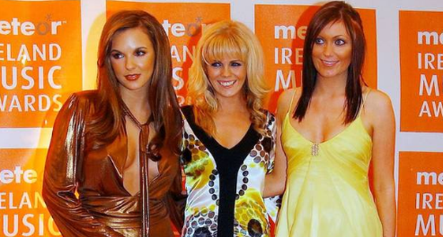 Jodi Albert, Gillian Filan and Georgina Byrne, partners of Westlife band members attend the Meteor Ireland Music Awards 2007