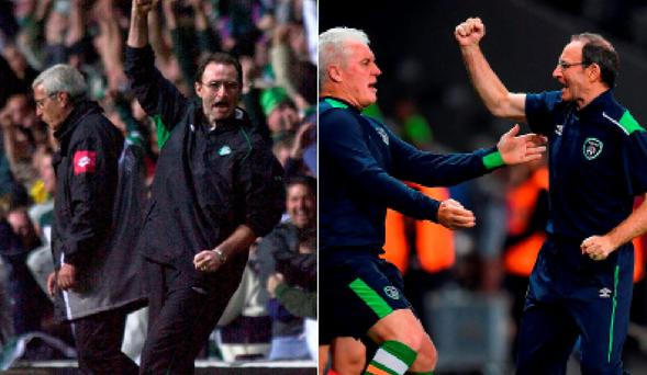 Martin O'Neill celebrates beating Juventus in 2001 and (right) after beating Italy last night