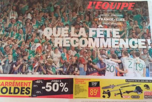 L'Equipe page tribute to Ireland today