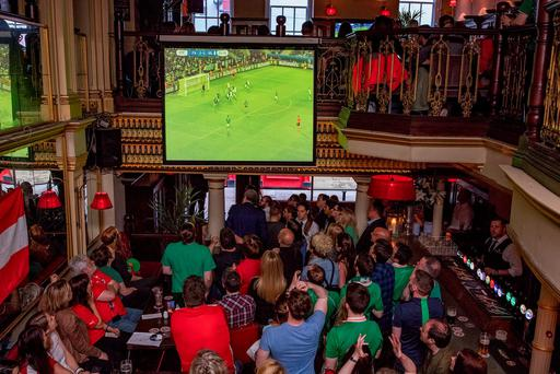 Fans watch the European Championship match between Ireland and Italy at the Merchantile pub on Dame street. Pictures:Arthur Carron