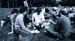 Gay Pride1980, picnic at Merrion Square. Photo by Thomas A. O'Shea. It is a condition of use that all photos are © credited to the photographer, courtesy Irish Queer Archive/National Library of Ireland.