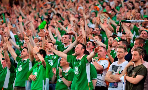 22 June 2016; Republic of Ireland supporters during the UEFA Euro 2016 Group E match between Italy and Republic of Ireland at Stade Pierre-Mauroy in Lille, France. Photo by Stephen McCarthy / Sportsfile