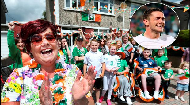 Robbie Brady's Mum Maria celebrates his goal at his grandparents house in Raheny. Pic: Steve Humphreys