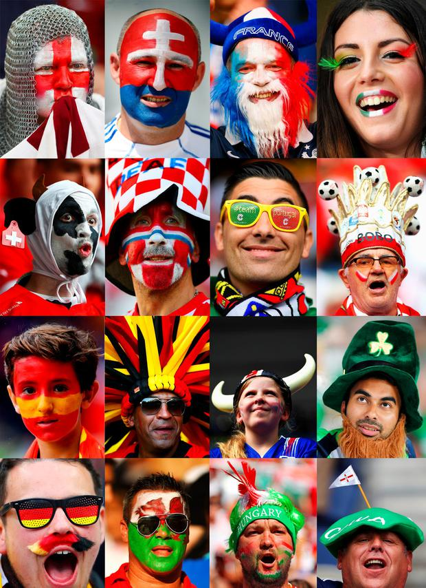 A composite image of fans from each of the 16 teams who have qualified for the knockout stages if Euro 2016. Photo: File photo/Getty Images
