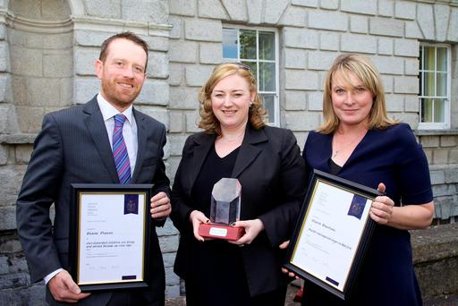 Independent News & Media journalists Shane Phelan, Dearbhail McDonald and Maeve Sheehan with their awards