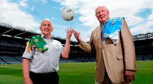Meath and Dublin managers from the four-match Leinster SFC epic in 1991, Sean Boylan (left) and Paddy Cullen, renewed acquaintances in Croke Park yesterday to mark the 25th anniversary of the saga (SPORTSFILE)