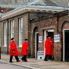 Chelsea pensioners arrive at a polling station near to the Royal Chelsea Hospital, London. Photo: PA Wire