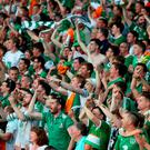 Republic of Ireland fans in the stands celebrate. Photo: PA