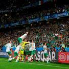 Republic of Ireland players celebrate with the fans. Photo: Reuters