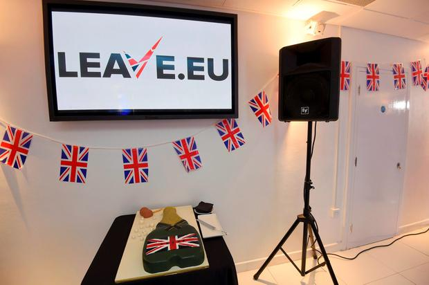 A cake waits to be cut at a Leave.eu party after polling stations closed in the Referendum on the European Union in London, Britain, June 23, 2016. REUTERS/Toby Melville