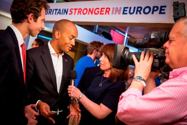 Chuka Umunna, Member of Parliament for Streatham, is interviewed as the Stronger In campaign gather to wait for the result of the EU referendum at London's Royal Festival Hall. Rob Stothard/PA Wire