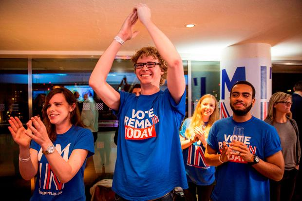 Supporters of the Stronger In campaign cheer as the EU referendum result from Gibraltar is announced at London's Royal Festival Hall. Rob Stothard/PA Wire