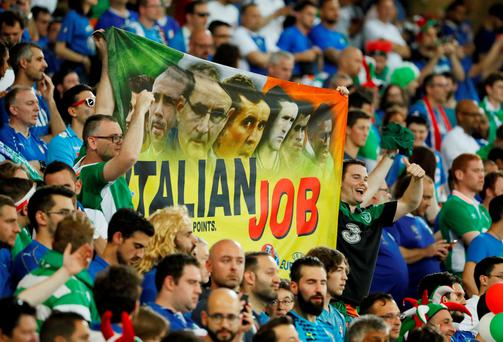 Irish fans display a banner before the win over Italy. Photo: Gonzalo Fuentes