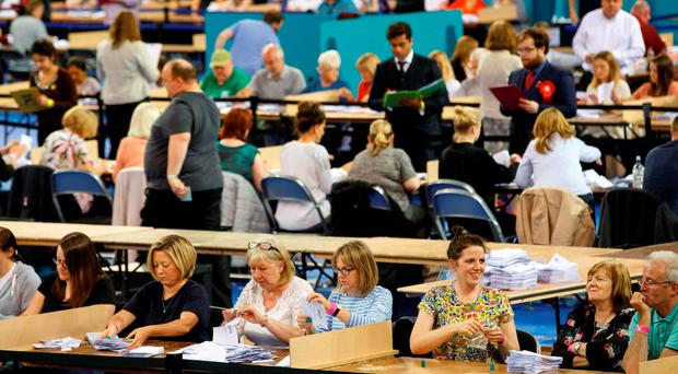 Ballots are counted at the Glasgow count centre at the Emirates Arena, Glasgow, Scotland, on June 23, 2016 after polls closed in the referendum on whether the UK will remain or stay in the European Union (EU). AFP PHOTO / Robert PerryROBERT PERRY/AFP/Getty Images