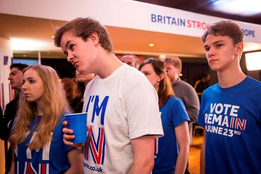 Supporters of the Stronger In Campaign react after heading the result from Orkney in the EU referendum at the Royal Festival Hall, in London, Britain June 24, 2016. REUTERS/Rob Stothard/Pool