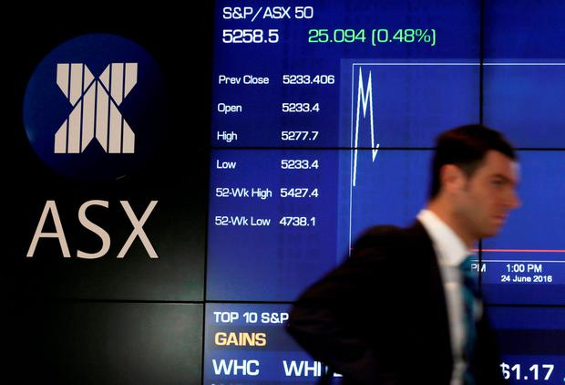 Australia's S&P/ASX 50 Index shows a slight bump during early trading as votes are counted in Britain's EU referendum at the Australian Stock Exchange in Sydney, Australia, June 24, 2016. REUTERS/Jason Reed