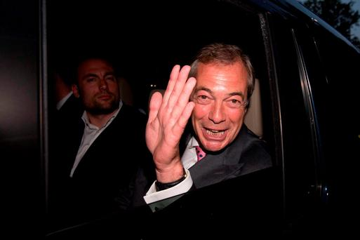 UKIP Leader Nigel Farage at the Leave.EU party in London where he claimed victory for the Leave campaign in the EU referendum. Stefan Rousseau/PA Wire