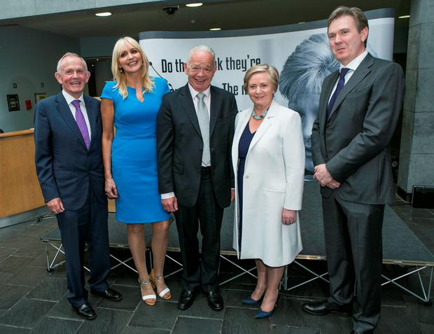 INM Chairman Lesley Buckley, Miriam O'Callaghan and Jimmy Guerin with Taniste Frances Fitzgerald and INM Editor in Chief Stephen Rae at the Veronica Guerin Anniversary in The Chester Beatty Library