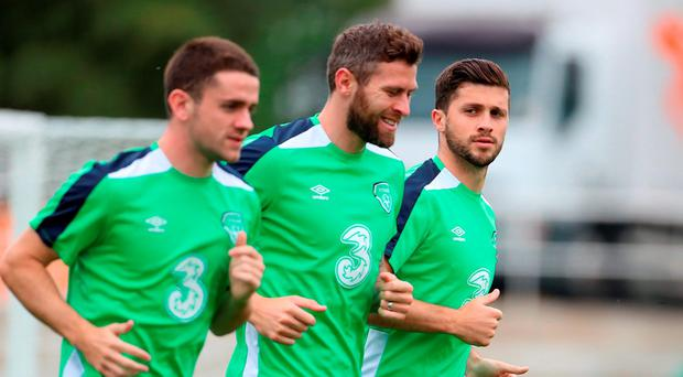 Republic of Ireland's Shane Long (right) with team-mates Daryl Murphy (centre) and Robbie Brady during a training session at the Stade de Montbauron, Versailles today