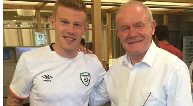 James McClean with the late Martin McGuinness