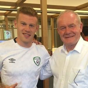James McClean with Northern Ireland deputy first minister Martin McGuinness