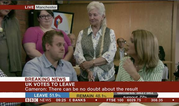 Adam appeared on BBC on Friday morning but seemed to be confused that his vote mattered. Pic: BBC