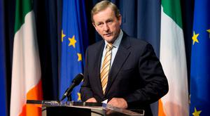 Taoiseach Enda Kenny TD speaking to media at Government Buildings, Dublin following the outcome of the UK EU referendum, Dublin. Photo: Gareth Chaney Collins