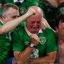 Irish fan Kenny Murdock weeps following Robbie Brady's winning goal against Italy. Photo by Stephen McCarthy / Sportsfile