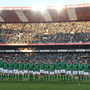 18 June 2016; The Ireland team stand for their national anthem ahead of the Castle Lager Incoming Series 2nd Test game between South Africa and Ireland at the Emirates Airline Park in Johannesburg, South Africa. Photo by Brendan Moran/Sportsfile