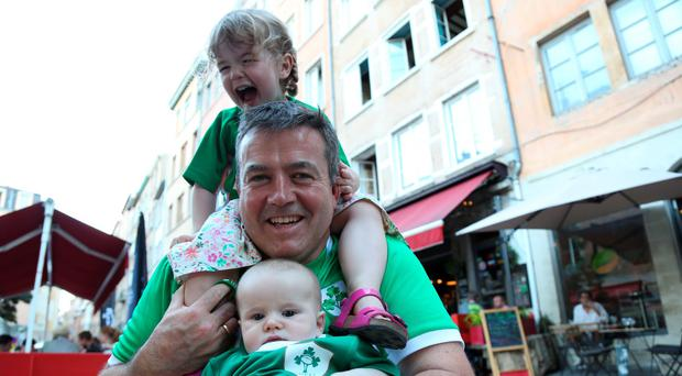Adrian Walsh with his daughter Julia and son Ronan. Picture Mark McConville