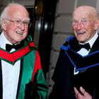 Physicist and Nobel Prize winner, Professor Peter Higgs, and Josef Veselsky – Trinity's oldest student. Photo: Maxwells