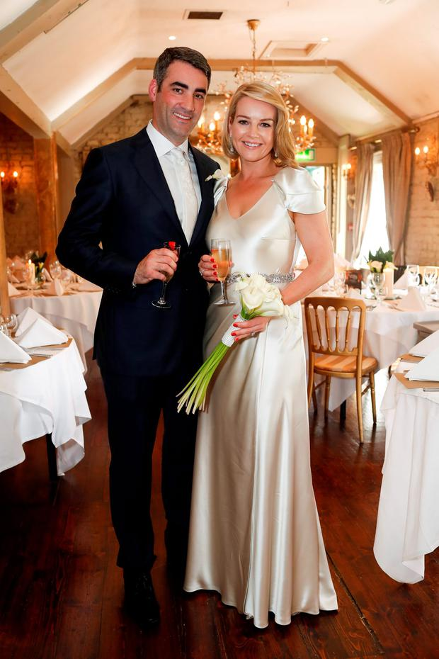 RTÉ presenter Claire Byrne and husband Gerry Scollan in their evening wear. Photo: Conor McCabe