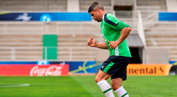 Jon Walters goes through his paces during Ireland's training session in Versailles yesterday as he nears a return to action after suffering a Achilles injury. Photo by David Maher/Sportsfile